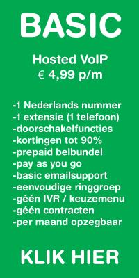 Standaard Hosted VoIP met 1 NL nummer voor 4,99 per maand.